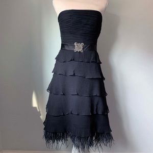 BCBGMaxAzria Tiered Feather Silk Dress-Black/4